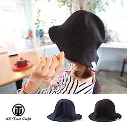 韓版男女純色柔軟卷邊漁夫帽