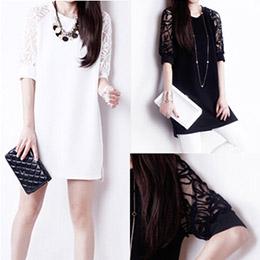 蕾絲拼接寬鬆短袖洋裝(3色)