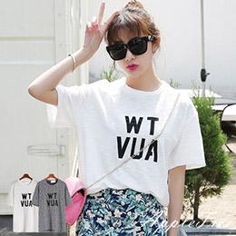 鉚釘裝飾字母棉質T恤2色