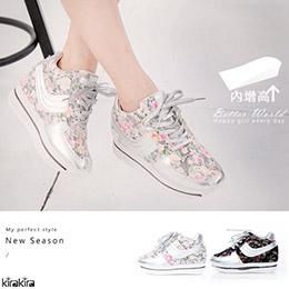 甜美復古花布拼接內增高休閒布鞋