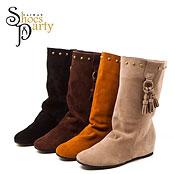 【shoesparty】超Cute流蘇真皮內增高短靴