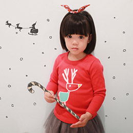 兒童手工時尚T恤-歡樂麋鹿