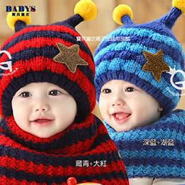 星星小蜜蜂毛帽圍脖組