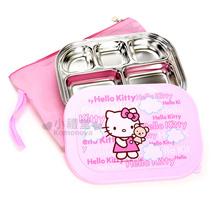 Hello Kitty 附蓋不鏽鋼餐盤 附專屬收納袋