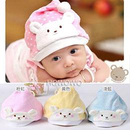 小熊點點絨面嬰兒帽