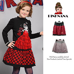PINKNANA格紋造型針織短裙