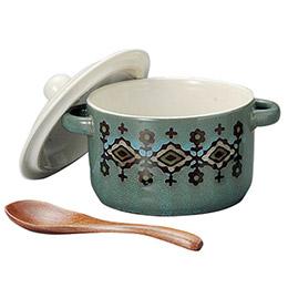 北歐圖騰陶瓷餐碗/附湯匙