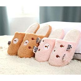 可愛耳朵熊軟底室內拖鞋
