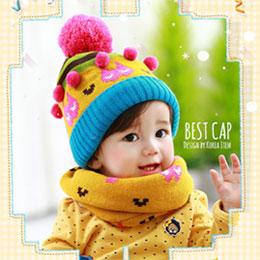 可愛貓咪豆豆帽圍巾組
