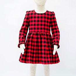 LBB紅黑格紋小女生秋冬洋裝