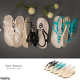 編織金屬幸運草飾楔型夾腳涼鞋