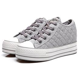 厚底鞋菱格紋厚底內增高帆布鞋(深藍、白、灰)