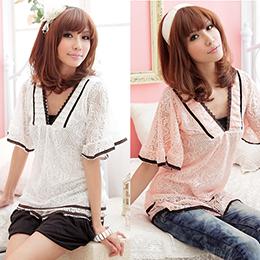 雙色蕾絲寬袖上衣(3色/S-XL)