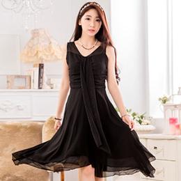飄逸不規則裙擺雪紡洋裝(3色)