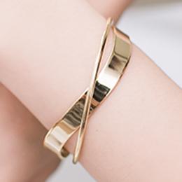 第五大道波浪金屬雙弧交錯開口式手環