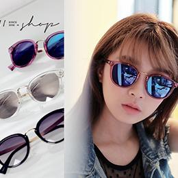 性感小貓眼透明框反光水銀太陽眼鏡