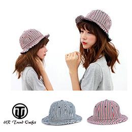 條紋圓頂休閒漁夫帽遮陽帽