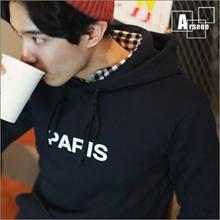 韓國簡約設計英文刷毛連帽T恤