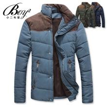 立領拼接麂皮保暖鋪棉外套