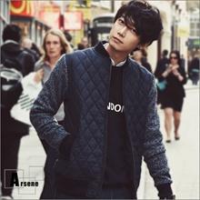 韓國菱格紋針織袖保暖鋪棉外套