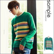 韓國製,彩色橫紋加厚毛衣