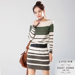 正韓條紋金扣羊毛針織洋裝