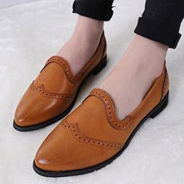 春英倫雕花簡約復古平底包鞋