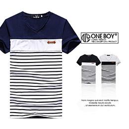 基本條紋拼接V領短袖T恤