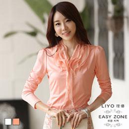 優雅緞布層次荷葉邊長袖襯衫