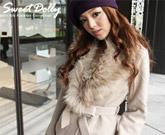 狐狸毛毛領造型毛料西裝外套(共2色)
