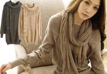 細摺造型領棉質上衣