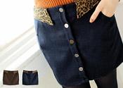 豹紋排釦毛呢短裙