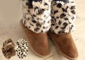 動物紋皮草鞋套