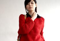 橫向織紋蓬鬆針織毛衣