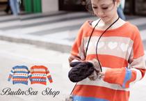 愛心彩色橫條紋針織毛衣