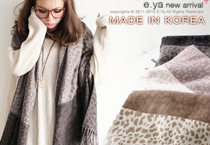 豹紋雙色塊毛料圍巾披肩