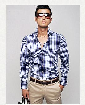 韓國時尚經典細格紋窄版襯衫