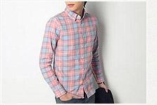 韓版藍/粉色格紋襯衫
