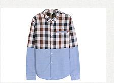 拼接口袋設計格紋長袖襯衫