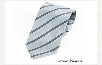 Antonio Baldan-Cantina水藍斜條紋領帶
