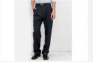 深藍條紋打摺西褲