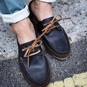皮革綁帶麻繩底休閒皮鞋