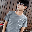造型口袋圓領短袖T恤