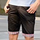 滑面經典內格紋可反摺式五分褲