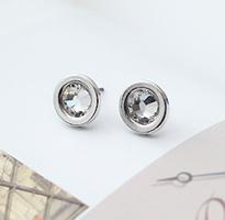 簡潔時尚銀邊閃耀水晶圓耳環