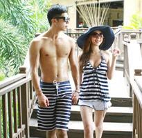 條紋情侶裝比基尼+沙灘褲套組