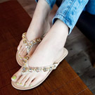 夏日綻放 亮彩寶石平底涼鞋