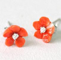 日系甜美桃色珊瑚小花耳環