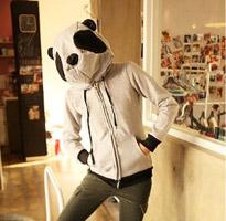貓熊覆面連帽刷毛外套