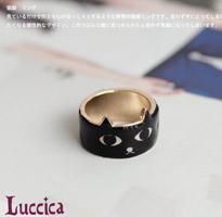 日本Luccica 迷魅雙瞳黑貓戒指